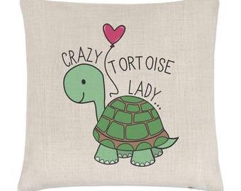 Crazy Tortoise Lady Linen Cushion Cover