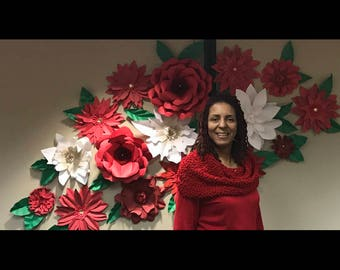 Holiday Backdrop of Giant Paper Flowers