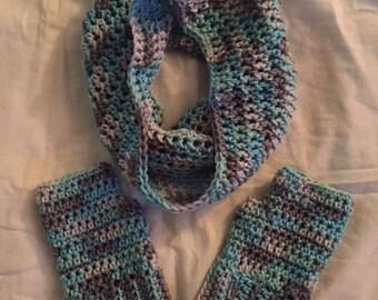 Hand Crochet Cowl with Fingerless Gloves Set Icelandic blue brown white mix
