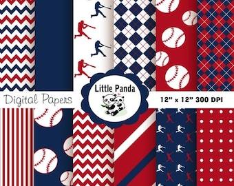 70% OFF SALE Baseball Digital Paper Pack, Digital Scrapbooking Papers, 12 jpg files 12 x 12 - Instant Download - D142