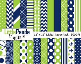 60% OFF SALE Blue and lime green digital paper, scrapbook papers, wallpaper, background, commercial use - D461