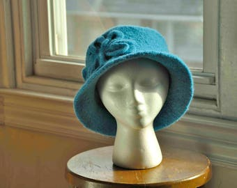 Women's felted blue hand-knit wool hat turned down brim felted Irish crochet flower