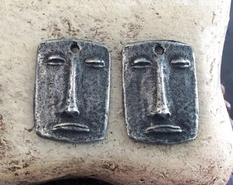 Handmade Face Charms, Artisan, Handcrafted, Jewelry Supplies No. 604CD