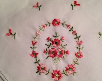 Vintage Handkerchief - Pink Red White Green Flowers, Botanical hanky - Hankie
