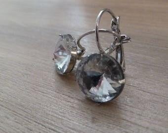 """Earrings """"Rivoli kitten"""" Swarovski white clear"""