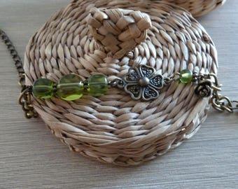 Pink Green bronze bracelet