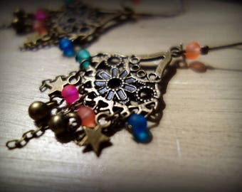 Earrings chandeliers hanging flowers and multicolored