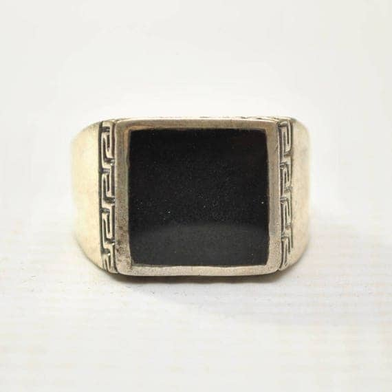 Onyx Square Stone in Greek Key Sterling Silver Ring Sz 12 #8760