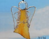 "Yellow Angel Stained Glass Suncatcher - Carrier INFINITY LOVE or LOVE - 5 ""x 3"" (12 x 7 cm),  with decorative solder"