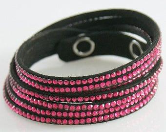4 Strand Bracelet ~ Red Rhinestone Double Bracelet