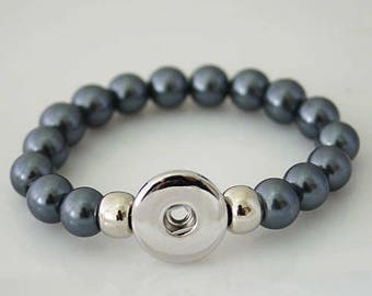 KB4513 - Charcoal Gray Pearl Elastic NOOSA Style Bracelet for Snap It Chunk Charms