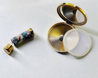 Vintage powder compacts and lipstick door mirror makeup set: