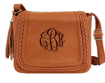 Monogram Crossbody Bag / Leather Purse / Leather Bag / Shoulder Bag / Embroidered Clutch Purse / Preppy Cross body Bag / Vegan Leather