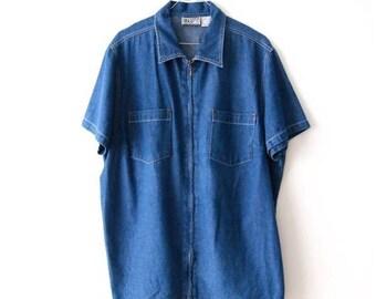 Vintage Extra Large Denim Shirt Zipper Closure Denim Shirt Denim Jeans T Shirt Blouse Sky Blue T Shirt XXl Shirt