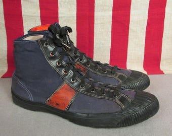 Vintage 1920s Kaufman Sport Shoes Canvas Basketball Sneakers Sz.9 Antique Rare!