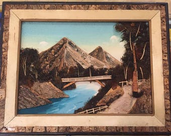 1960S // BRIDGE by the MOUNTAIN // Vintage Framed 3D Collage