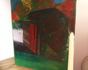 Original Painting Small Shed with White Picket Fence in the Fall