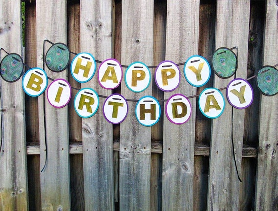 Turquoise Purple and Gold Birthday Banner