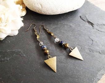 Earrings rutile quartz, sodalite and bronze - nut