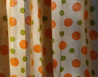 70's polka dot curtains, 2 pieces