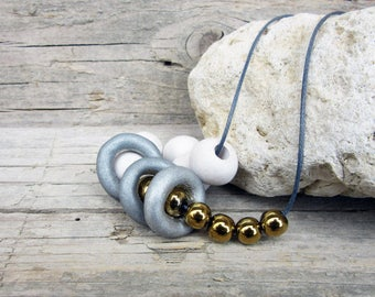 White, Silver and Gold Necklace ,White, Silver and Blue Necklace, Ceramic Necklace, Boho Necklace, Geometric Necklace, Long Necklace
