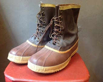 Vintage Sorel duck hunting rain snow boots rubber leather LL Bean US size 13 14 XL outdoor rugged