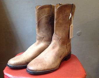 Vintage tan brown leather Justin Western cowboy pecos boots rockabilly US 8.5