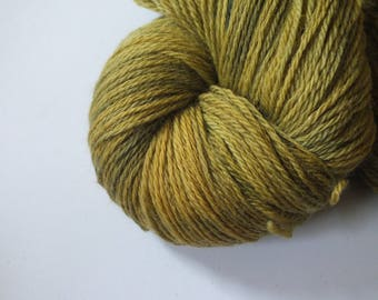 Hand dyed yarn, merino, 4ply, natural dye, olive, green