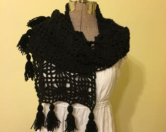 Crochet Halloween Wrap, Black Shawl, Spider Web Shawl, Super Scarf, Soft, Lacy, Nursing Privacy Drape, Boho Wrap, Fringe