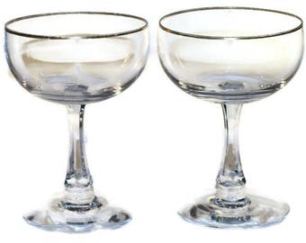 Vintage Pair of Signed Fostoria Gold Rim Champagne Coupes Toasting Coupes Wedding Coupes Stemware