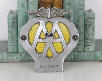 Vintage AA GB Car Badge including original mounting bracket