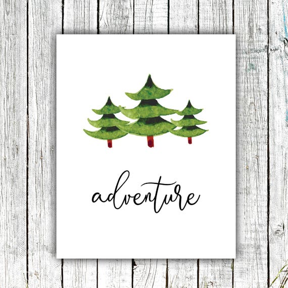 Nursery Printable, Adventure, Wall Art, Trees, Watercolor, Outdoors, Digital Download Multiple Sizes #654