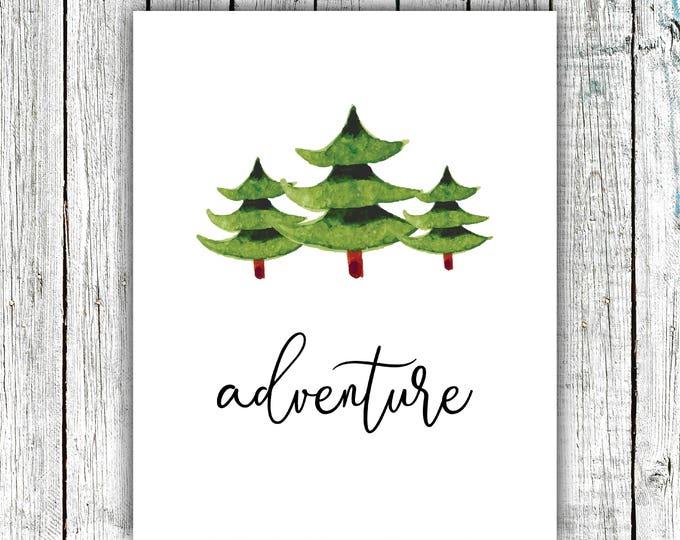 Nursery Printable, Adventure, Wall Art, Trees, Watercolor, Outdoors, Digital Download Multiple Sizes #654