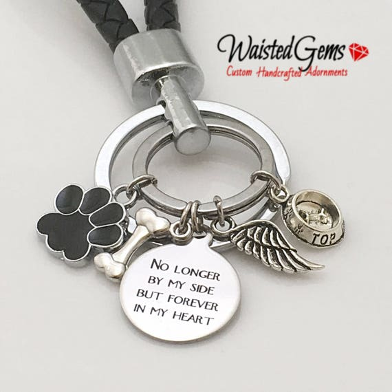 No Longer by my side Custom Charm Keychain, Key Chains, Animal Keychain, Dog owner gifts Gift zmw9.15