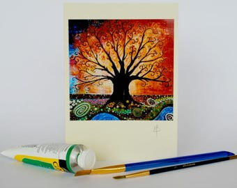 Art Nouveau Tree of Life Pagan Greeting Card Birthday Card Colorful Folk and Mindfulness Art Wildlife and Nature Art