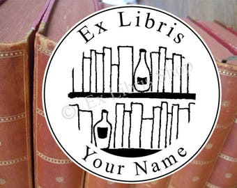Bookplate stamp •Reading spirits•, custom exlibris, personalised library stamp, bookplate, librarian stamp, name stamp, book stamp, 656