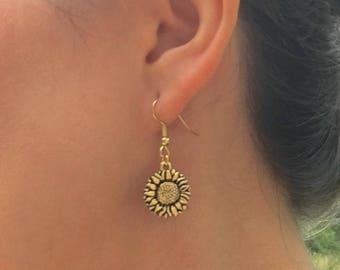 SUNFLOWER DANGLE EARRINGS gold tone flower jewelry floral jewelry botanica flower earrings