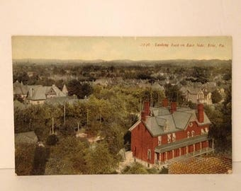 ON SALE Erie Pennsylvania PA Aerial View Looking East on East Side Early 1900's Vintage Old Antique Postcard