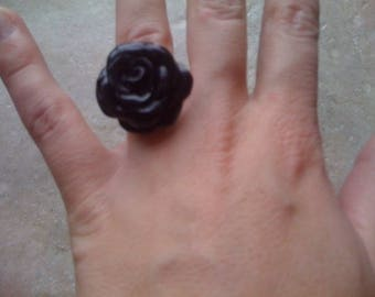 BLACK POLYMER CLAY ROSE RING