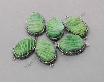 Slice Druzy Connectors -- Drusy Druzzy With Pave Rhinestone Edge Charms Wholesale Supplies YHA-305