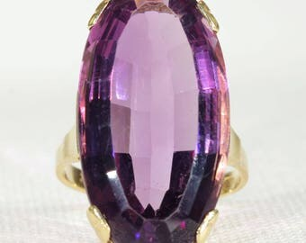 Art Deco Large Amethyst Gold Ring