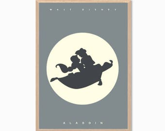 Disney | Aladdin + Princess Jasmine Poster : Modern Planet Illustration Retro Art Wall Decor Print