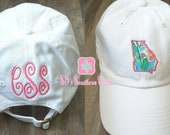 Preppy Monogrammed State Applique Hat, Personalized State Hat