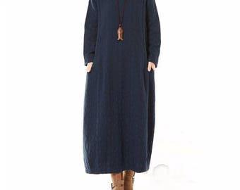 Women Maxi Dress Long Sleeve Vintage Cotton Linen V Neck