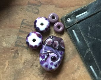 Handmade Purple Glass Bead Set, Artisan Lampwork Beads - Abstract Organic Lampwork Bead Set, Handmade Lampwork Beads SRA