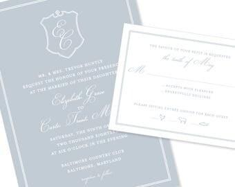 Romantic Script Wedding Invitation with Crest | Wedding Invitation | DIY Option Available | Invitation | RSVP | Info Card #1142