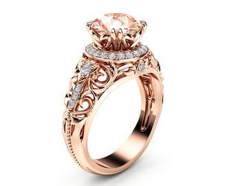 Morganite Halo Engagement Ring 14K Rose Gold Art Deco Ring Morganite Wedding Ring