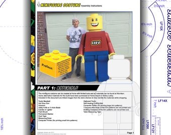 Tutorial: LEGO Adult Costume Minifigure. DIY patterns and instructions PDF. Easily build a highly accurate replica. Instant download