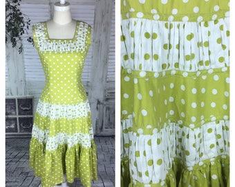 Original Vintage 1950's Full Length Green Chartreuse Polkadot Dress