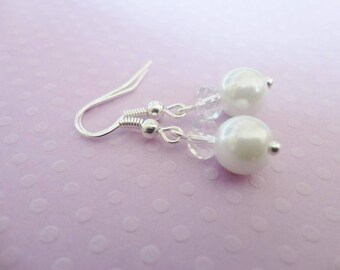 (Or ivory) white glass pearls and Crystal 925 Sterling Silver earrings wedding Bridal